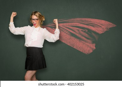 Nerd dork fashion cape super woman celebrates strength power confident ego inner pride independence individuality unique