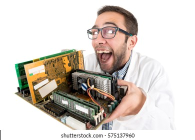 Nerd engineer posing with computer components isolated in a white background