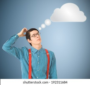 Nerd geek businessman student or teacher with thought thinking cloud or computing