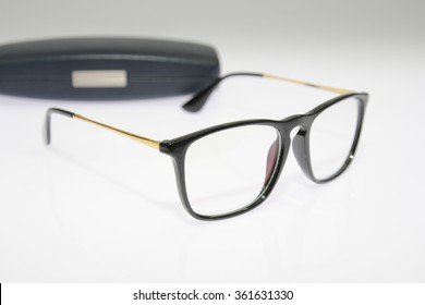 Nerd glasses with case on gray