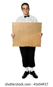 Nerd holding blank cardboard sign isolated over white