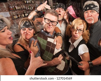 Nerd husband and wife being cool with biker gang in bar