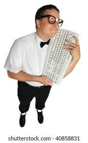 Nerd lovingly holding keyboard isolated over white background
