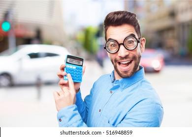 nerd man calculating on white