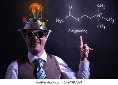 Nerd presenting handdrawn chemical formula of acetylcholine education