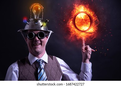 Nerd with QAnon symbol or Q Anon, a deep state conspiracy theory fire