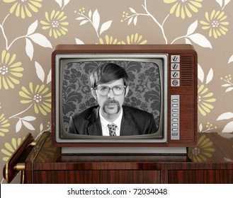 nerd retro  vintage tv presenter hero on wood television wallpaper [Photo Illustration]