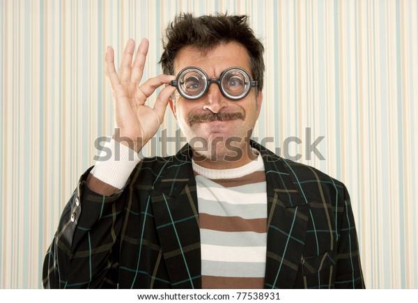 nerd silly crazy myopic glasses man funny gesture mustache tacky retro