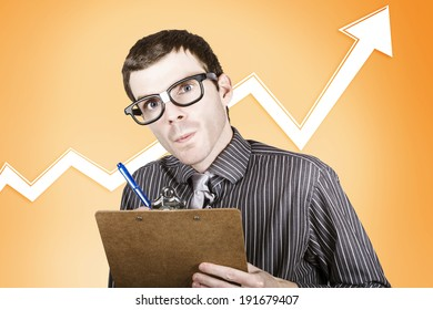Nerd stock market analyst writing up a financial report on rising interest in the commodities market