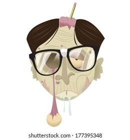 nerd zombie head