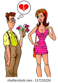 Nerdy guy with bouquet of tulips and his girlfriend