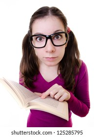 Nerdy Young Woman Student Reading Book with white background