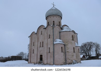 NEREDITSA, NOVGOROD OBLAST / RUSSIA - DECEMBER 24 2017: The Saviour Church on Nereditsa is is one of Russia's oldest churches which was built in 1198.