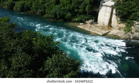Neretva river in old town in Mostar