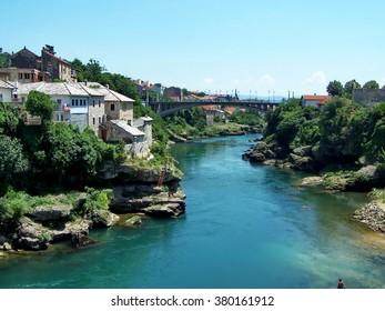 Neretva River running through the center of Mostar, Bosnia