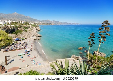 Nerja beach, famous touristic town in costa del sol, Malaga, Andalusia, Spain.