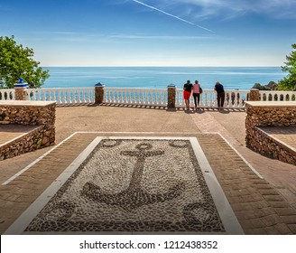 "Nerja, Costa del Sol, Andalusia, Spain - September 30, 2018: The observation deck ""Mirador del Bendito"" in Nerja."