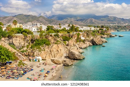 "Nerja, Costa del Sol, Andalusia, Spain - September 30, 2018: Panorama of the coast overlooking the beach ""Playa Calahonda"" from the Balcony of Europe."
