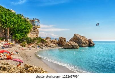 Nerja, Costa del Sol, Andalusia, Spain - September 30, 2018: View of Playa El Caletilla and Balcon de Europa.
