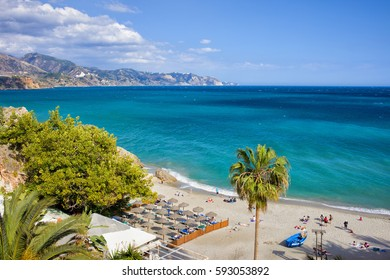 Nerja, resort town on Costa del Sol in Andalucia, Spain, Calahonda beach at Mediterranean Sea