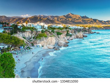 NERJA, SPAIN - 12 MAY, 2018: Nice beach in Nerja, Spain on 12 May, 2018