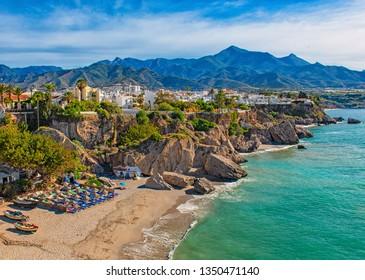 NERJA, SPAIN - 12 MAY, 2018: Nice beach in Nerja, Spain on 12 May, 2018