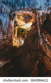 Nerja, Spain. Cuevas De Nerja - Famous Caves. Natural Landmark And One Of The Top Tourist Attractions In Spain. Different Rocks, Stalactites And Stalagmites In Nerja Caves.