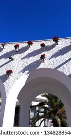 Nerja Spain January 09 2019 Loggia on the Balcon de Europa a viewpoint in Nerja which is a traditional Spanish Holiday resort on the Costa Del Sol  near Malaga in the south of Spain