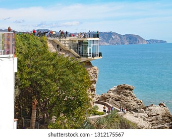 NERJA, SPAIN - MARCH 2018: The viewing platform at the end of the Balcon de Europa above the restaurant makes a wonderful vantage point