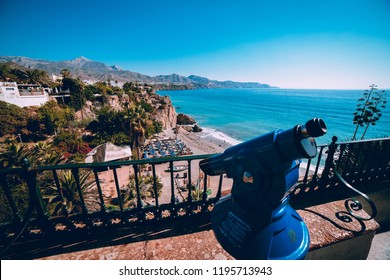 NERJA, SPAIN - SEP 30, 2018: Pictures of the view from the famous spot in Nerja - Balcony of the Europe.