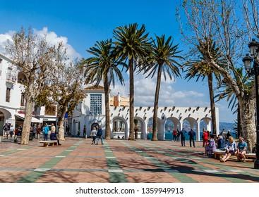 NERJA, SPAIN-MARCH 23, 2019: The Balcon de Europa on the Costa del Sol, province of Malaga, Spain