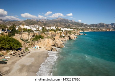 "Nerja ""The Jewel of Andalucia"" - Playa de la Calahonda, View from ""Balcon de Europa"" very popular touristic attraction in south of Spain"