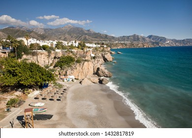 """Nerja """"The Jewel of Andalucia"""" - Playa de la Calahonda, View from """"Balcon de Europa"""" very popular touristic attraction in south of Spain"""