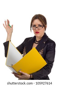 Nervous Accountant on white background - young businesswoman with a nervous and stressed out facial expression waving away with a pen in her hand while holding a large yellow file binder.