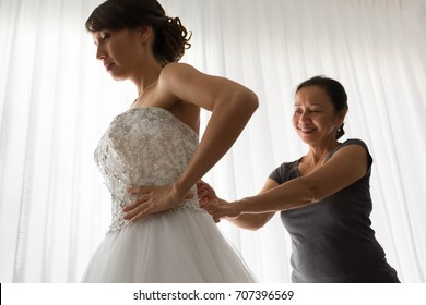 Nervous bride getting ready for her wedding day