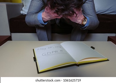 Nervous business man with GDPR (General Data Protection Regulation) act note