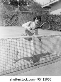 Nervous female tennis player