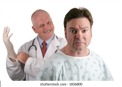 A nervous looking patient about to get his first prostate exam.  The doctor is in the background putting on his rubber glove.  Shallow DOF with focus on the patient's face.