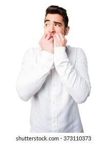 nervous man on white
