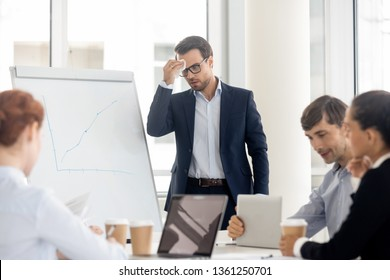 Nervous sweaty public speaker sweating wiping sweat afraid or speaking at presentation, stressed worried businessman presenter feel fear panic attack anxious about speech in front of business people