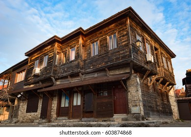 NESEBAR, BULGARIA - February 05, 2017: Old Bulgarian houses in the town of Nesebar. In 1956 Nesebar was declared as museum city, archaeological and architectural reservation by UNESCO.