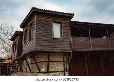 NESEBAR, BULGARIA - February 12, 2017: Old Bulgarian houses in the town of Nesebar. In 1956 Nesebar was declared as museum city, archaeological and architectural reservation by UNESCO.