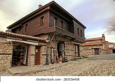 NESEBAR, BULGARIA - FEBRUARY 13, 2015: Traditional medieval houses in the Old Town of Nesebar, Bulgaria, UNESCO World Heritage Site.