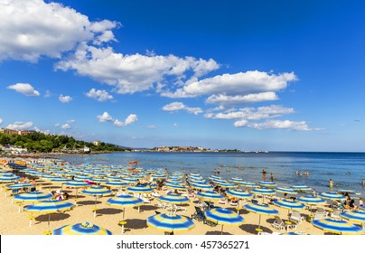 NESEBAR, BULGARIA - JULY 18, 2016: Nesebar Sunny Beach in the New City. The resort's construction began back in Communist times, in 1958.