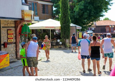 NESEBAR, BULGARIA - June 21, 2018: Nesebar (often transcribed as Nessebar) is an ancient city and one of the major seaside resorts on the Bulgarian Black Sea Coast, located in Burgas Province.