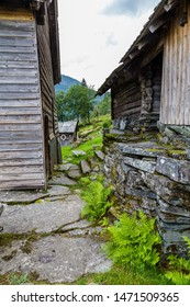 Nesheim Farmstead called Nesheimtunet near Voss with old wooden farm buildings in Norway. Part of Voss Folke museum.