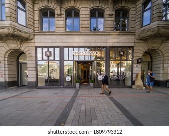 Nespresso shop store front outside Mall In Hannover, Germany, NESPRESSO Nespresso is a famous brand of coffee pads and coffee machines Nespresso brand shop store front in Germany