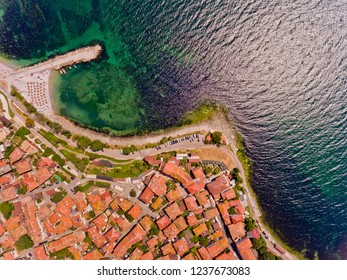 Nessebar, ancient city on the Black Sea coast of Bulgaria. Top view.