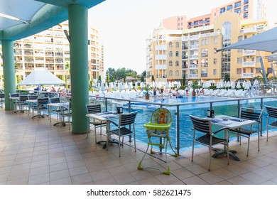 NESSEBAR, BULGARIA - AUG 26: Outdoor area with tables for visitors to the restaurant in hotel Marvel, Nessebar, Bulgaria at August 26, 2016