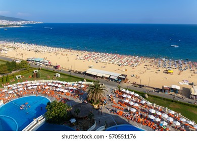 NESSEBAR, BULGARIA - AUG 28: Panoramic view of Sunny Beach and swimming pool in hotel resort Victoria in Nessebar, Bulgaria at August 28, 2016